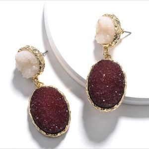 Greta Druzy Drop Double Stone Earrings